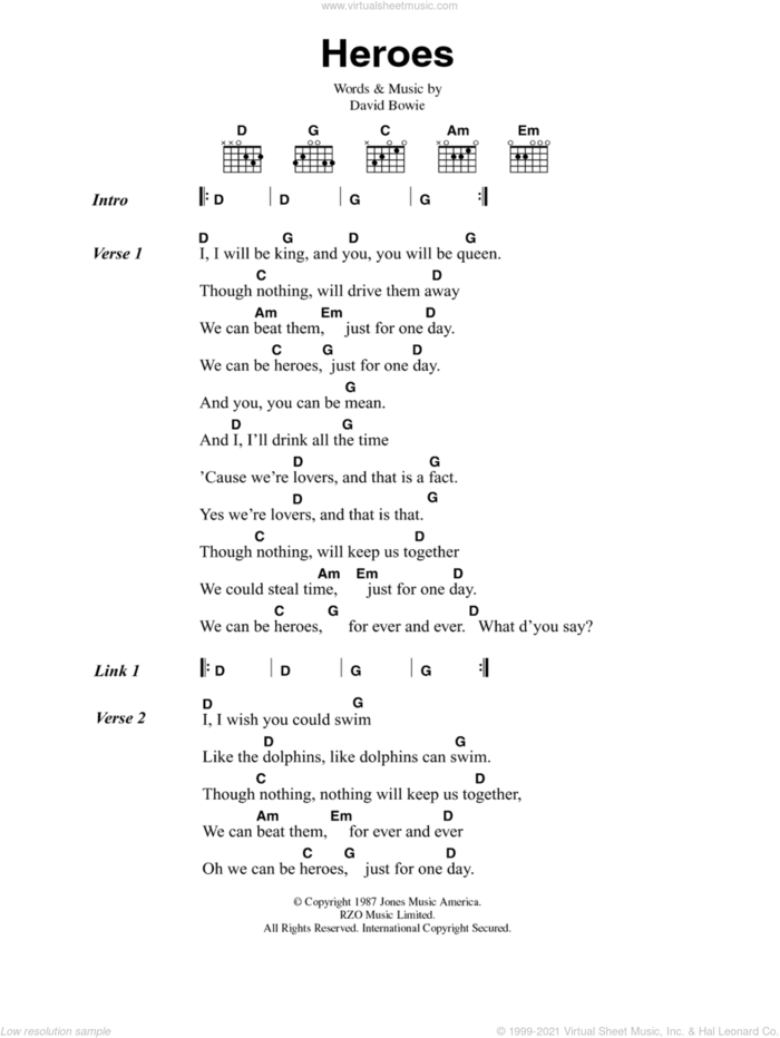 Heroes sheet music for guitar (chords) by David Bowie and Brian Eno, intermediate skill level
