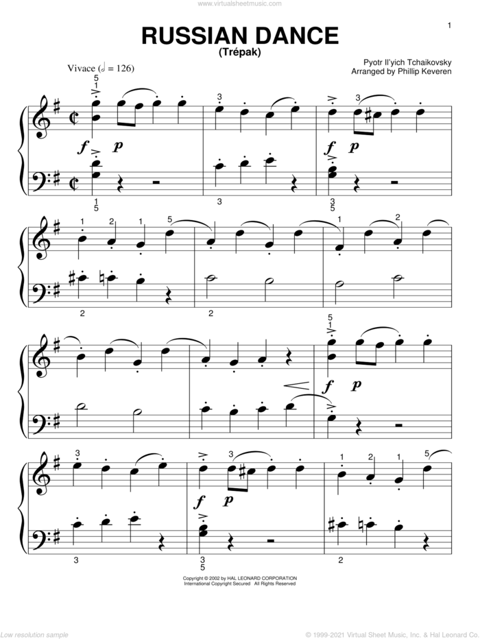 Russian Dance ('Trepak') (arr. Phillip Keveren) sheet music for piano solo (big note book) by Pyotr Ilyich Tchaikovsky and Phillip Keveren, classical score, easy piano (big note book)