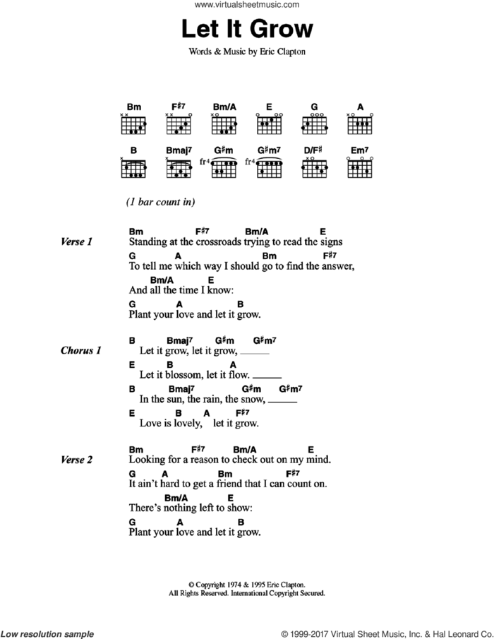 Let It Grow sheet music for guitar (chords) by Eric Clapton, intermediate skill level
