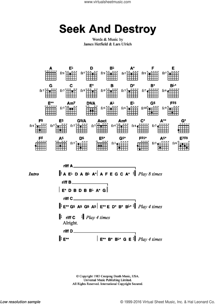 Seek And Destroy sheet music for guitar (chords) by Metallica, James Hetfield and Lars Ulrich, intermediate skill level