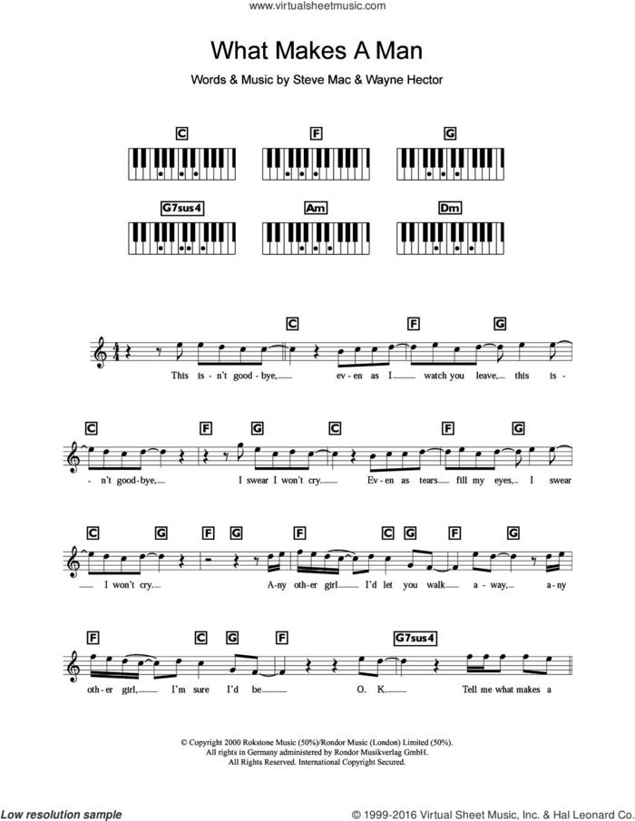 What Makes A Man sheet music for piano solo (chords, lyrics, melody) by Westlife, Steve Mac and Wayne Hector, intermediate piano (chords, lyrics, melody)
