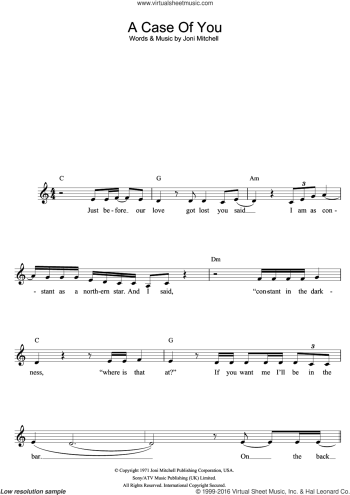 A Case Of You sheet music for voice and other instruments (fake book) by Joni Mitchell and Diana Krall, intermediate skill level