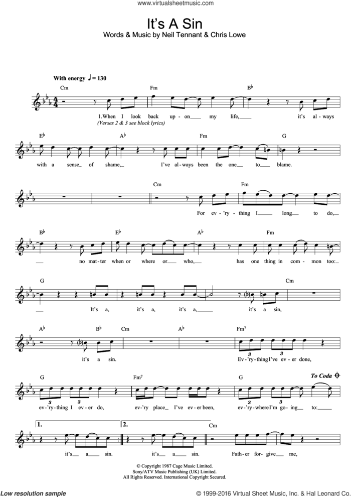 It's A Sin sheet music for voice and other instruments (fake book) by Pet Shop Boys, Chris Lowe and Neil Tennant, intermediate skill level