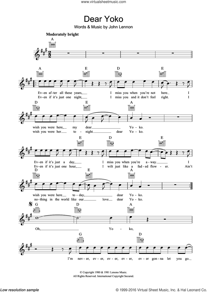 Dear Yoko sheet music for voice and other instruments (fake book) by John Lennon, intermediate skill level