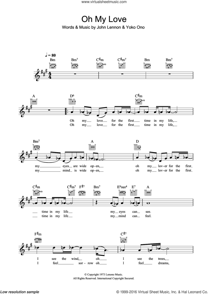 Oh My Love sheet music for voice and other instruments (fake book) by John Lennon and Yoko Ono, intermediate skill level