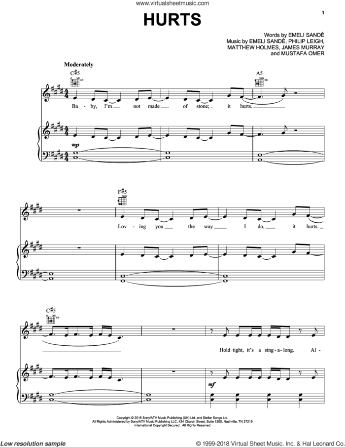 Hurts sheet music for voice, piano or guitar by Emeli Sande, James Murray, Matthew Holmes, Mustafa Omer and Philip Leigh, intermediate skill level