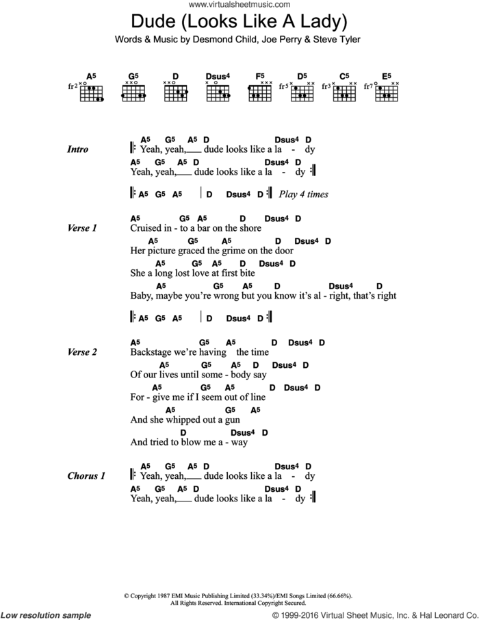 Dude (Looks Like A Lady) sheet music for guitar (chords) by Aerosmith, Desmond Child, Joe Perry and Steven Tyler, intermediate skill level