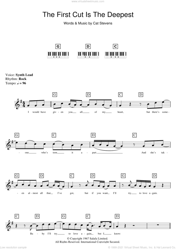 The First Cut Is The Deepest sheet music for piano solo (chords, lyrics, melody) by Cat Stevens, intermediate piano (chords, lyrics, melody)