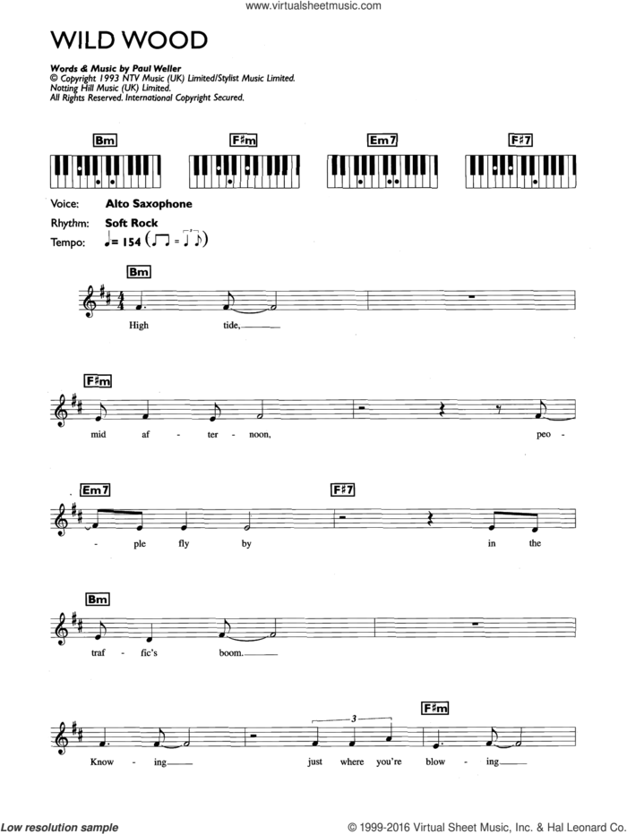 Wild Wood sheet music for piano solo (chords, lyrics, melody) by Paul Weller, intermediate piano (chords, lyrics, melody)