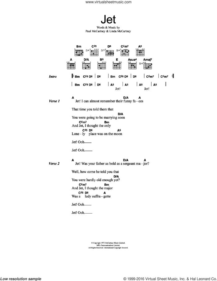 Jet sheet music for guitar (chords) by Wings, Paul McCartney and Linda McCartney, intermediate skill level