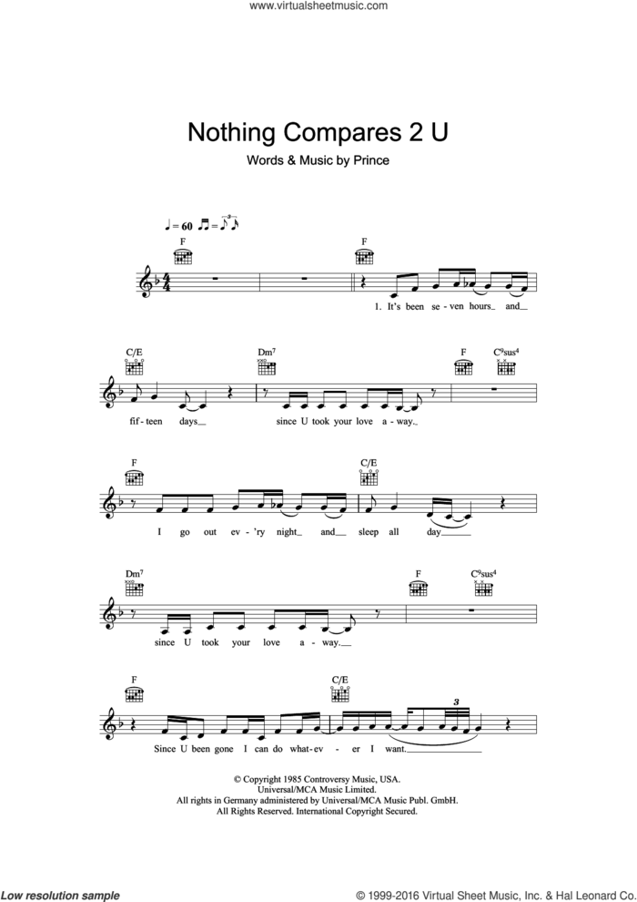 Nothing Compares 2 U sheet music for voice and other instruments (fake book) by Sinead O'Connor and Prince, intermediate skill level