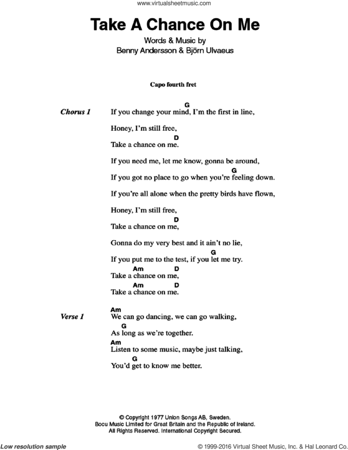 Take A Chance On Me sheet music for guitar (chords) by ABBA, Benny Andersson and Bjorn Ulvaeus, intermediate skill level