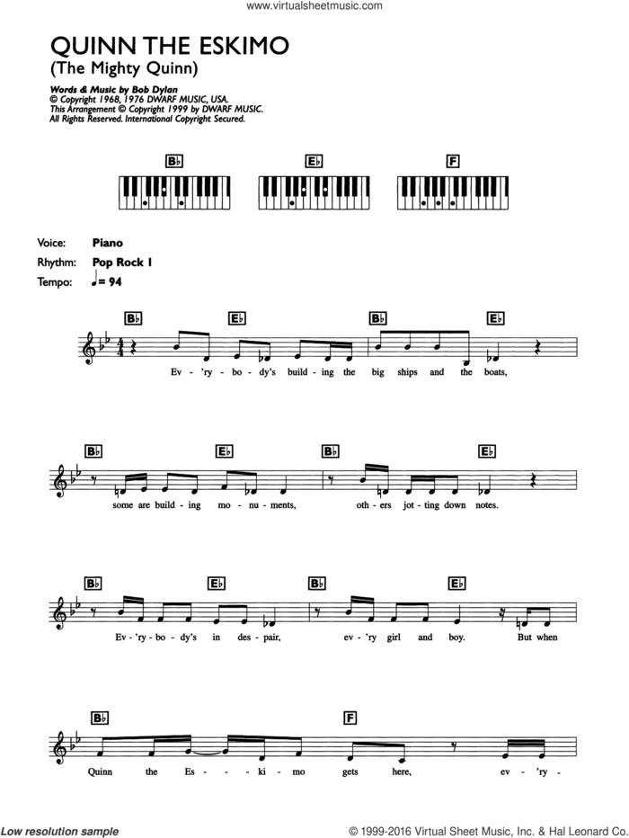 Quinn The Eskimo (The Mighty Quinn) sheet music for piano solo (chords, lyrics, melody) by Bob Dylan, Bob Dylan/Manfred Mann and Manfred Mann, intermediate piano (chords, lyrics, melody)