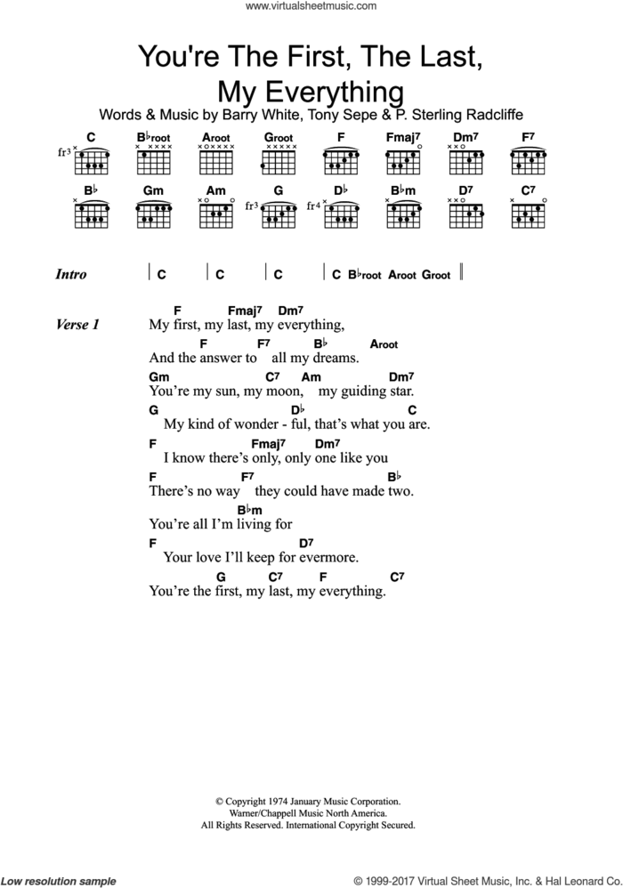 You're The First, The Last, My Everything sheet music for guitar (chords) by Barry White, P. Sterling Radcliffe and Tony Sepe, intermediate skill level