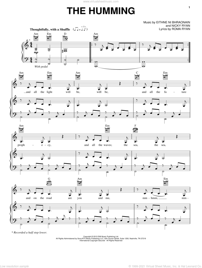 The Humming sheet music for voice, piano or guitar by Enya, Eithne Ni Bhraonain, Nicky Ryan and Roma Ryan, intermediate skill level