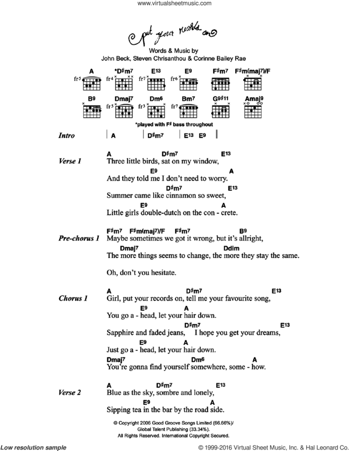 Put Your Records On sheet music for guitar (chords) by Corinne Bailey Rae, John Beck and Steven Chrisanthou, intermediate skill level