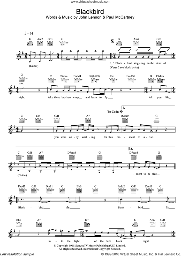 Blackbird sheet music for voice and other instruments (fake book) by The Beatles, John Lennon and Paul McCartney, intermediate skill level