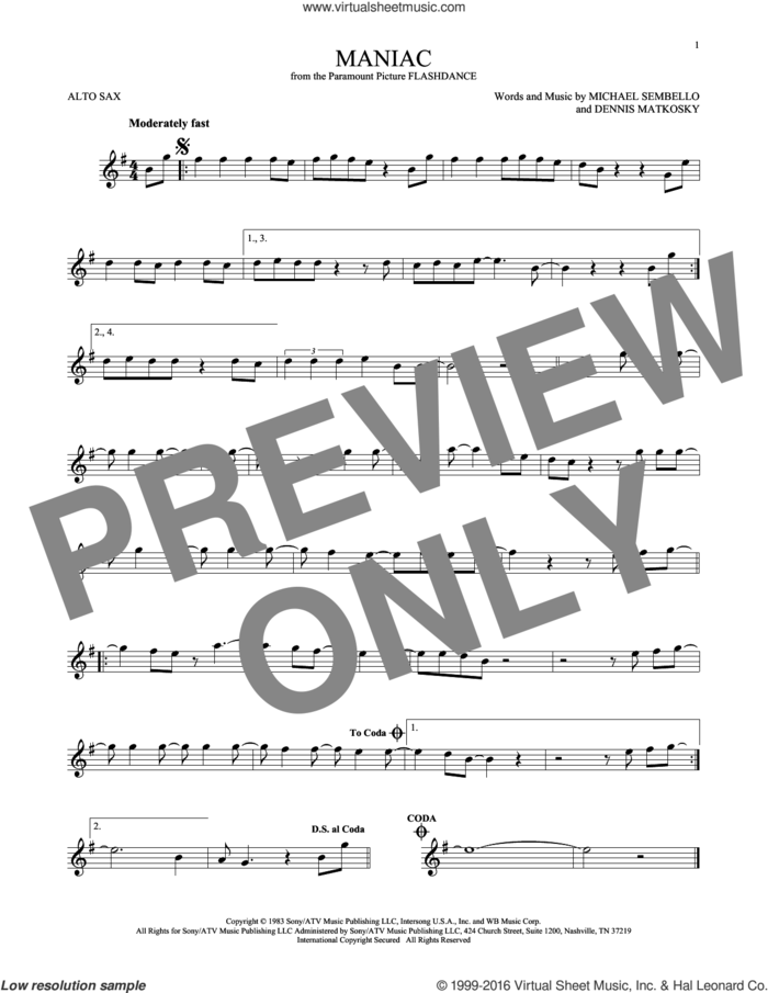 Maniac sheet music for alto saxophone solo by Michael Sembello and Dennis Matkosky, intermediate skill level