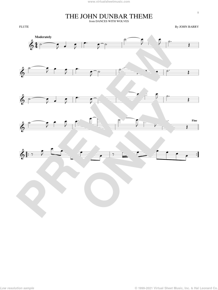 The John Dunbar Theme sheet music for flute solo by John Barry, intermediate skill level