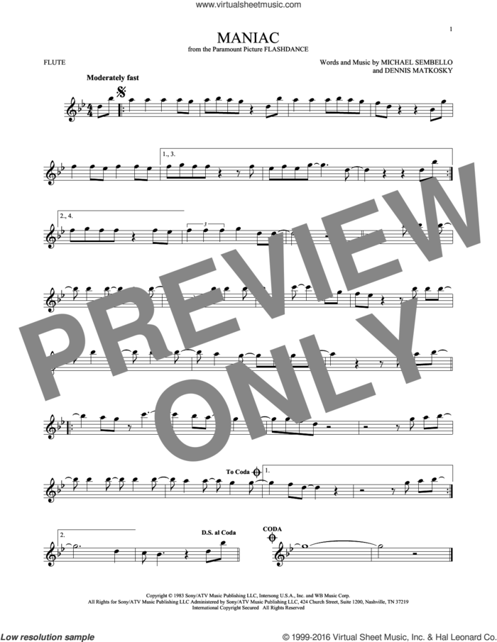 Maniac sheet music for flute solo by Michael Sembello and Dennis Matkosky, intermediate skill level