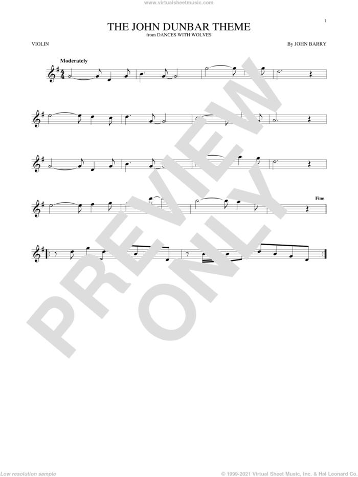 The John Dunbar Theme sheet music for violin solo by John Barry, intermediate skill level