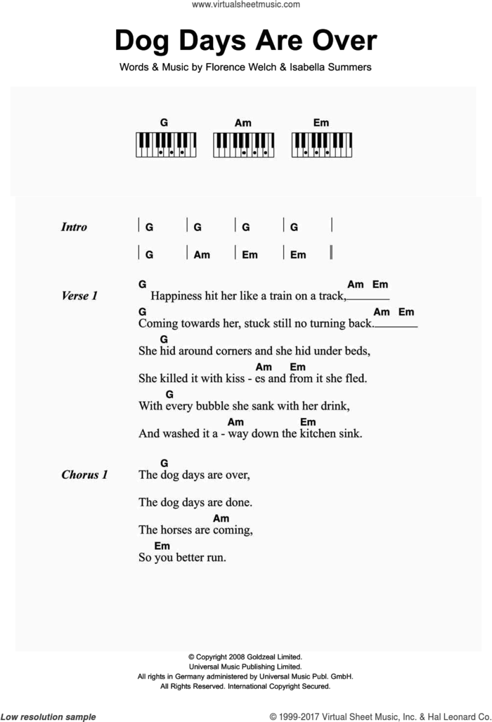 Dog Days Are Over sheet music for piano solo (chords, lyrics, melody) by Florence And The Machine, Florence Welch and Isabella Summers, intermediate piano (chords, lyrics, melody)