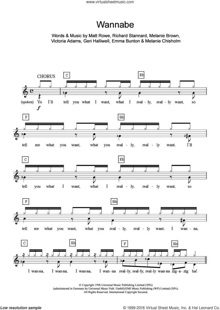 Wannabe sheet music for piano solo (chords, lyrics, melody) by Spice Girls, Chisholm Melanie, Emma Bunton, Geri Halliwell, Matt Rowe, Melanie Brown, Richard Stannard and Victoria Adams, intermediate piano (chords, lyrics, melody)