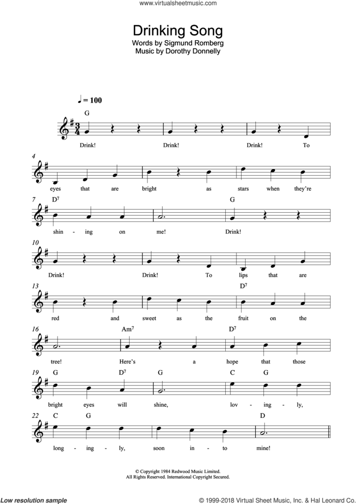 Drinking Song sheet music for voice and other instruments (fake book) by Dorothy Donnelly and Sigmund Romberg, intermediate skill level