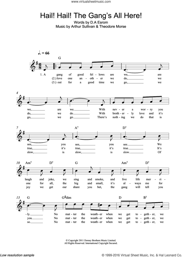 Hail! Hail! The Gang's All Here! sheet music for voice and other instruments (fake book) by Arthur Sullivan, D.A. Esrom and Theodore F. Morse, intermediate skill level