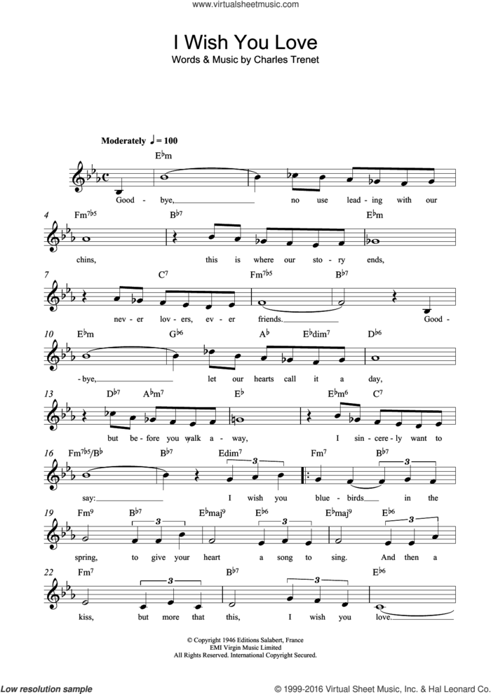 I Wish You Love sheet music for voice and other instruments (fake book) by Marlene Dietrich, Frank Sinatra and Charles Trenet, intermediate skill level