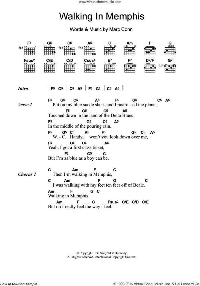 Walking In Memphis sheet music for guitar (chords) by Marc Cohn, intermediate skill level