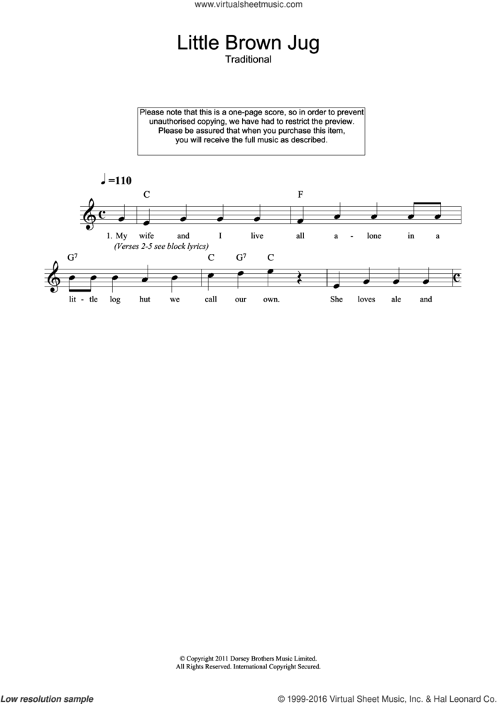 Little Brown Jug sheet music for voice and other instruments (fake book), intermediate skill level
