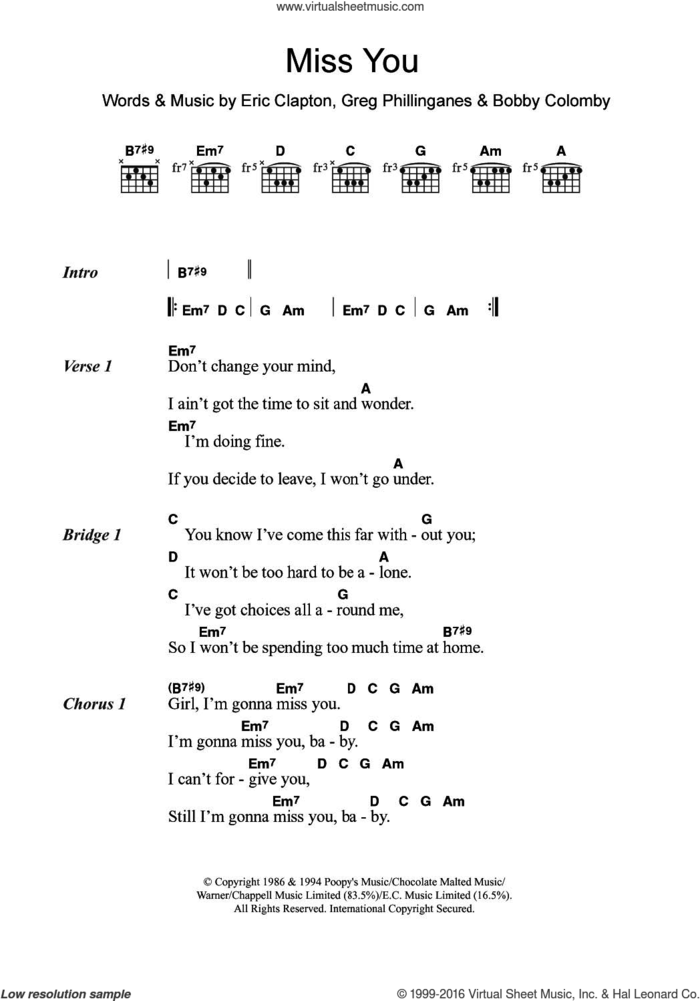Miss You sheet music for guitar (chords) by Eric Clapton, Bobby Colomby and Greg Phillinganes, intermediate skill level