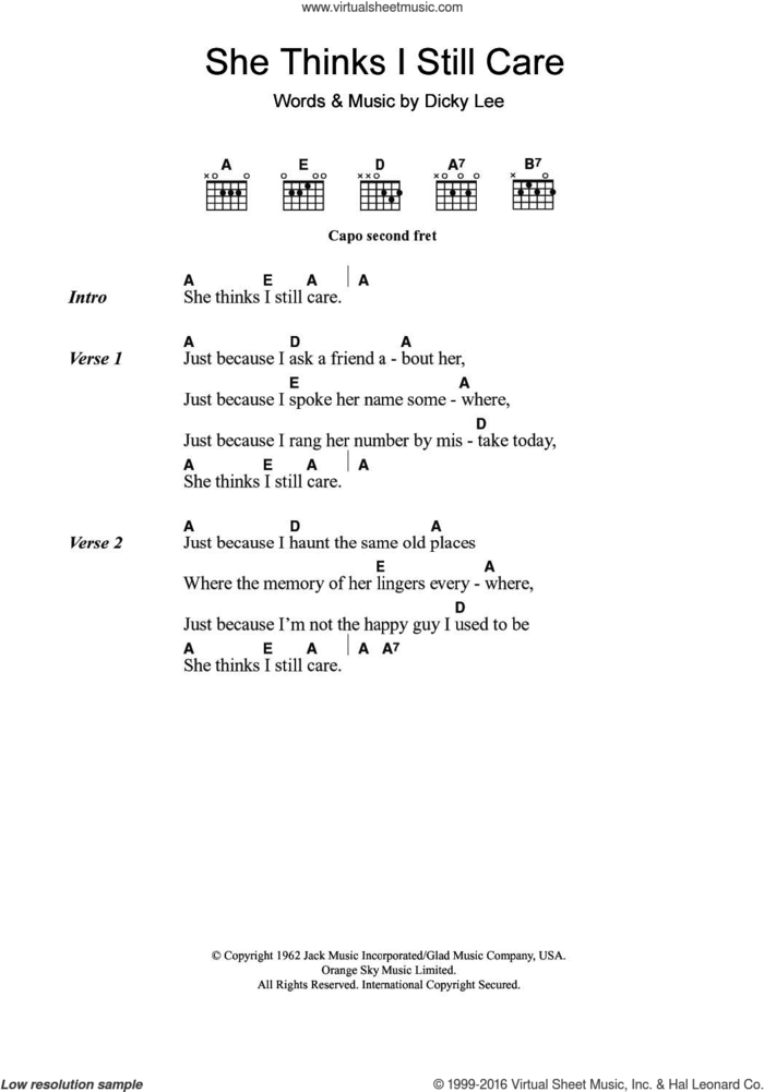 She Thinks I Still Care sheet music for guitar (chords) by George Jones and Dickey Lee, intermediate skill level