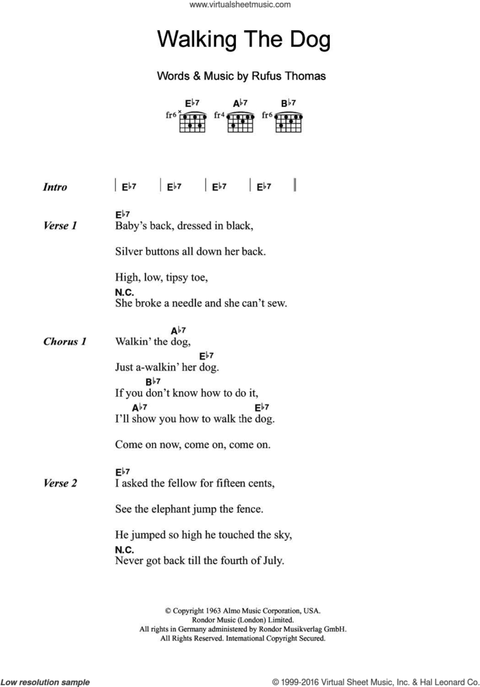 Walking The Dog sheet music for guitar (chords) by Rufus Thomas, intermediate skill level