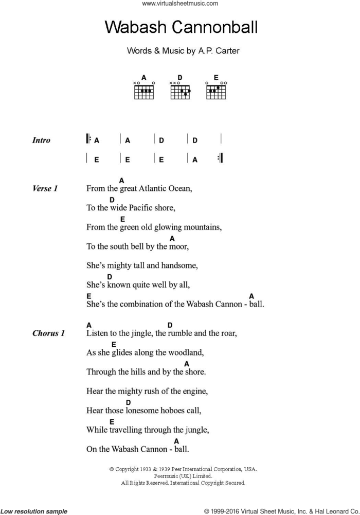 Wabash Cannonball sheet music for guitar (chords) by Roy Acuff and A.P. Carter, intermediate skill level
