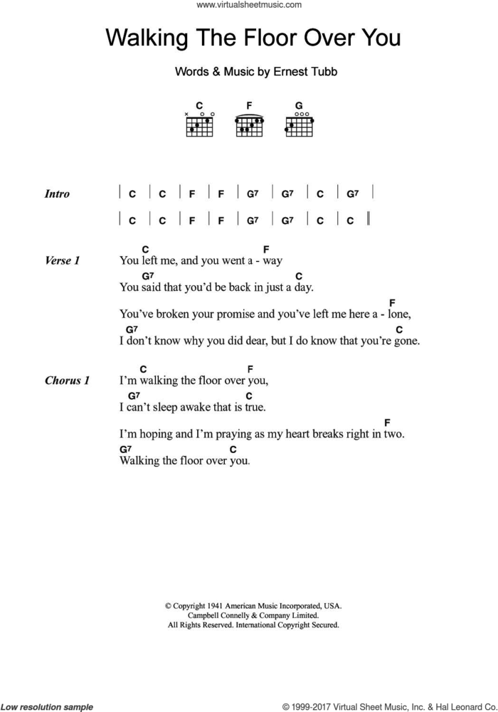 Walking The Floor Over You sheet music for guitar (chords) by Ernest Tubb, intermediate skill level