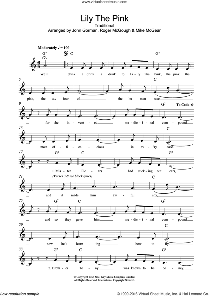 Lily The Pink sheet music for voice and other instruments (fake book)  and The Scaffold, intermediate skill level