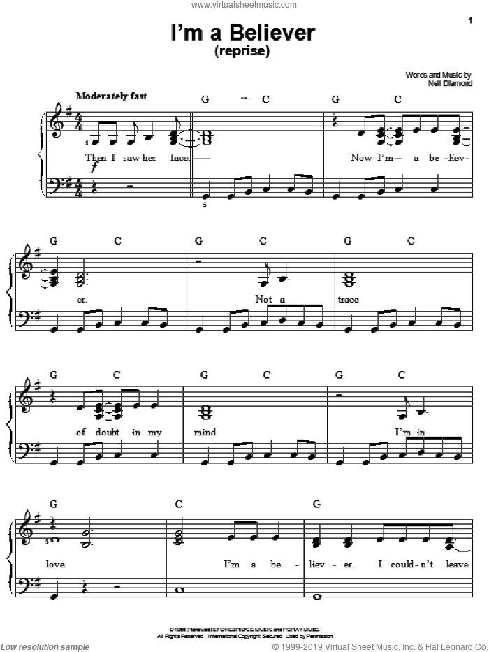 I'm A Believer (Reprise) sheet music for piano solo by Smash Mouth, Shrek (Movie), The Monkees and Neil Diamond, easy skill level