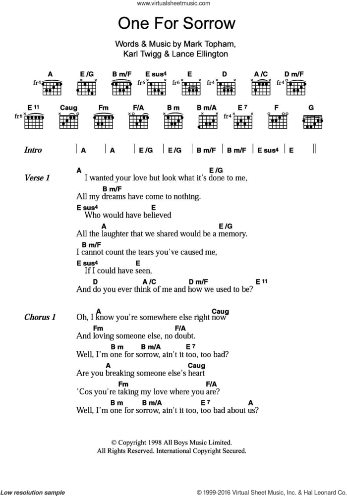 One For Sorrow sheet music for guitar (chords) by Steps, Karl Twigg, Lance Ellington and Mark Topham, intermediate skill level