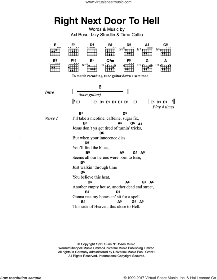 Right Next Door To Hell sheet music for guitar (chords) by Guns N' Roses, Axl Rose, Izzy Stradlin and Timo Caltio, intermediate skill level