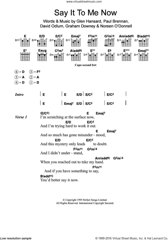 Say It To Me Now (from Once) sheet music for guitar (chords) by Glen Hansard, The Frames, David Odlum, Graham Downey and Paul Brennan, intermediate skill level