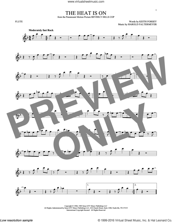 The Heat Is On sheet music for flute solo by Glenn Frey, Harold Faltermeyer and Keith Forsey, intermediate skill level
