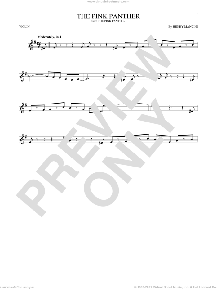 The Pink Panther sheet music for violin solo by Henry Mancini, intermediate skill level