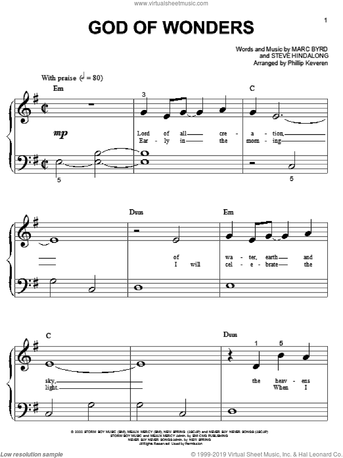 God Of Wonders sheet music for piano solo (big note book) by Marc Byrd, Phillip Keveren and Steve Hindalong, easy piano (big note book)