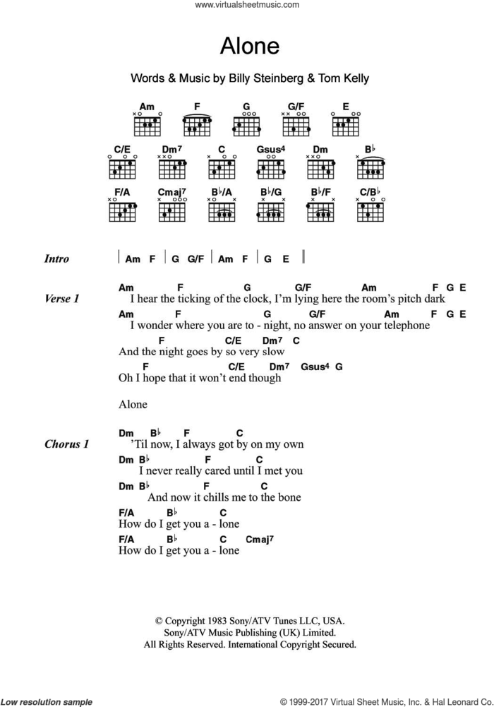 Alone sheet music for guitar (chords) by Heart, Billy Steinberg and Tom Kelly, intermediate skill level