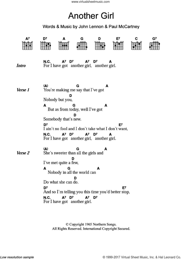 Another Girl sheet music for guitar (chords) by The Beatles, John Lennon and Paul McCartney, intermediate skill level