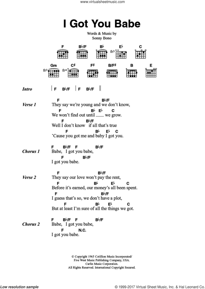 I Got You Babe sheet music for guitar (chords) by Sonny & Cher and Sonny Bono, intermediate skill level