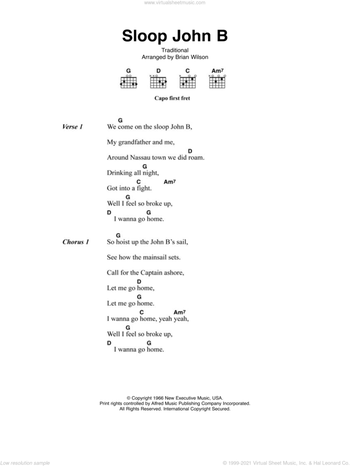 Sloop John B sheet music for guitar (chords) by The Beach Boys and Miscellaneous, intermediate skill level