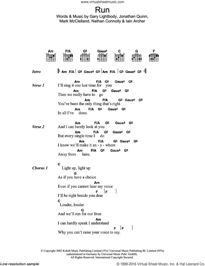 Run sheet music for guitar (chords) by Snow Patrol, Gary Lightbody, Iain Archer, Jonathan Quinn, Mark McClelland and Nathan Connolly, intermediate skill level